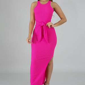 Dresses - Pink Ribbed Knit Bodycon Side Slit Midi Dress